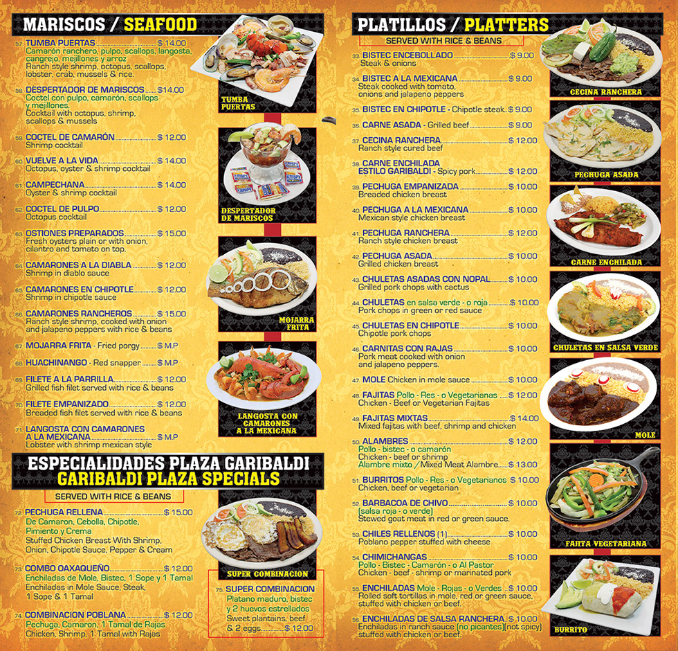 La Plaza Mexican Restaurant Menu